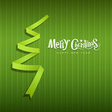 Merry Christmas origami green ribbons paper Royalty Free Stock Photography