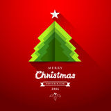 Merry Christmas origami paper green tree overlap Royalty Free Stock Photos