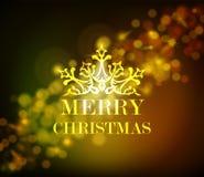 Merry christmas ornament golden vintage bokeh stock image