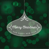 Merry Christmas ornament on green bokeh background Royalty Free Stock Photography