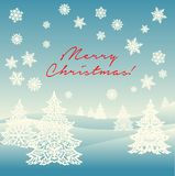 Merry Christmas ornament landscape postcard. With graphic Christmas trees, snowflakes, snow and red sign `Merry Christmas Stock Photography