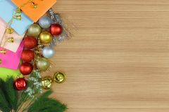 Merry Christmas ornaments background. Christmas ornaments on wood background. Copy space. Merry Christmas Stock Photo