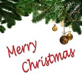Merry Christmas ornaments and Sign Royalty Free Stock Images