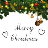 Merry Christmas ornaments and Sign Royalty Free Stock Photos