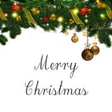 Merry Christmas ornaments and Sign Stock Photography