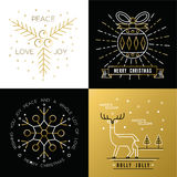 Merry christmas outline gold set bauble deer holly Royalty Free Stock Photos
