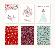 Merry christmas outline greeting card pattern set Stock Photo
