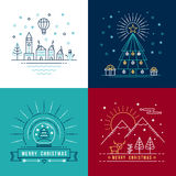 Merry christmas outline label set holiday element Stock Photography