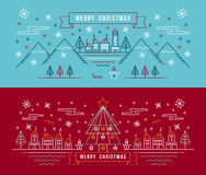Merry christmas outline linear city winter banner Stock Photography