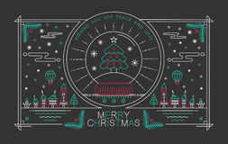 Merry christmas outline poster xmas tree snow city Stock Photo