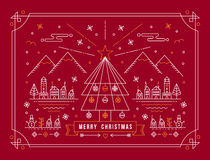 Merry christmas outline tree city winter poster Royalty Free Stock Photo