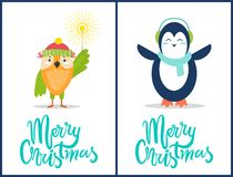 Merry Christmas Owl, Penguin Vector Illustration. Merry Christmas composition of owl wearing red hat of Santa Claus and holding Bengal light and icon penguin Stock Image