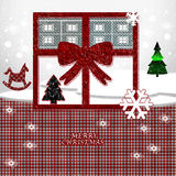 Merry Christmas. Package to form of window with  red ribbon and decorations Royalty Free Stock Photo