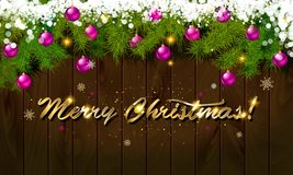 Merry Christmas, panoramic banner. Golden text happy new year Golden text happy new year wooden background balls Christmas tree branches background balls Royalty Free Stock Photography