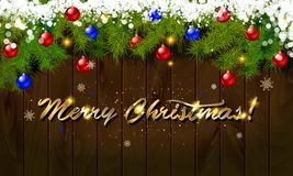 Merry Christmas, panoramic banner. Golden text happy new year Golden text happy new year wooden background balls Christmas tree branches background balls Stock Photo