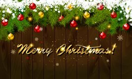 Merry Christmas, panoramic banner. Golden text happy new year Golden text happy new year wooden background balls Christmas tree branches background balls Royalty Free Stock Image