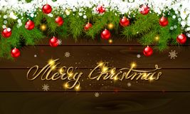 Merry Christmas, panoramic banner. Golden text happy new year Golden text happy new year wooden background balls Christmas tree branches background balls Royalty Free Stock Photos