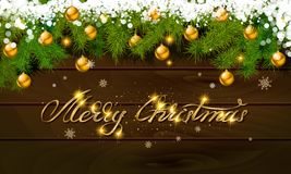 Merry Christmas, panoramic banner. Golden text happy new year Golden text happy new year wooden background balls Christmas tree branches background balls Stock Images