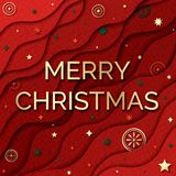 Merry Christmas paper cut web banner. royalty free stock photography