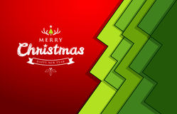 Merry Christmas paper green overlap tree design Stock Image