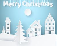 Merry Christmas Paper Poster Vector Illustration. Merry Christmas paper poster with white spruces and pines surrounded by rare houses on blue background. Vector Royalty Free Stock Image