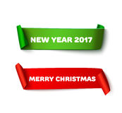 Merry Christmas paper roll banners with realistic shadow. Happy New Year 2017 set of red and green vector cardboard Stock Image