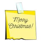 Merry Christmas paper sticky note. Retro reminder sticker Stock Photos