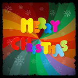 Merry Christmas Paper Title. On Abstract Colorful Spiral Background Royalty Free Stock Image