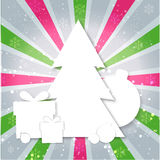 Merry Christmas paper tree design greeting card. Merry Christmas paper tree box design greeting card Royalty Free Stock Image