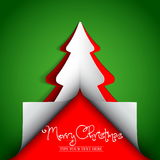 Merry Christmas paper tree design greeting card Stock Photos