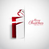 Merry Christmas Papercut gift box, Simple card for christmas, vector royalty free illustration