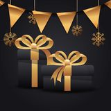 Merry christmas party. Blacks gifts pennants snow merry christmas party vector illustration royalty free illustration