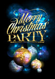 Merry Christmas party design with fur tree golden and silver balls. Stock Photos