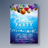 Merry Christmas Party Fliyer Design with Holiday Typography Elements and Multicolor Ornamental Balls on Shiny Background Stock Photography