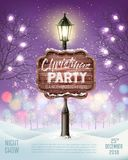 Merry Christmas Party Flyer background with evening winter landscape and lamppost. royalty free illustration