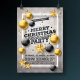 Merry Christmas Party Flyer Design with Holiday Typography Elements and Ornamental Balls, Cutout Paper Star, Pine Branch Royalty Free Stock Photography