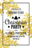 Merry christmas party flyer. Snowflakes of gold glitters on a white background. Happy New Year and Merry Christmas. Vector illustr stock image