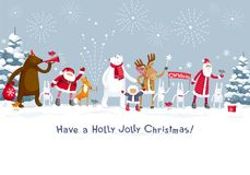 Merry Christmas party in the forest. Christmas Party fireworks in the winter forest. Party with the participation of Santa Claus and funny cartoon forest animals Royalty Free Stock Photography