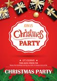 Merry christmas party and gift box on red background invitation Royalty Free Stock Photos