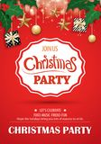 Merry christmas party and gift box on red background invitation Royalty Free Stock Photography