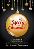 Merry christmas party and gold ball on dark background invitatio. N theme concept. Happy holiday greeting banner and card design template Royalty Free Stock Photography
