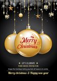 Merry christmas party and gold ball on dark background invitatio. N theme concept. Happy holiday greeting banner and card design template Stock Photo