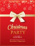 Merry christmas party and gold ribbon on red background   Stock Photography
