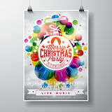 Merry Christmas Party illustration with holiday typography designs in abstract glass ball on shiny color background. Stock Photos