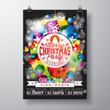 Merry Christmas Party illustration with holiday typography designs Stock Photos