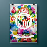 Merry Christmas Party illustration with holiday typography designs Royalty Free Stock Image