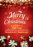 Merry christmas party light and gift box for flyer brochure desi. Gn on red background invitation theme concept. Happy holiday greeting banner and card template Royalty Free Stock Image
