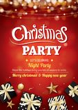 Merry christmas party light and gift box for flyer brochure desi. Gn on red background invitation theme concept. Happy holiday greeting banner and card template Royalty Free Stock Images