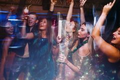 Merry Christmas party in night club Royalty Free Stock Photos
