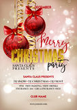 Merry Christmas party poster design template with decoration balls. Royalty Free Stock Photo
